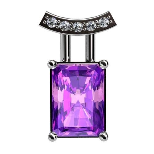 Amethyst and Diamond Slider Pendant