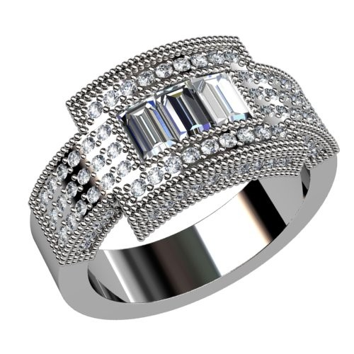Three Stone Baguette Diamond Wedding Ring