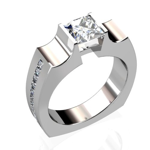 Princess Diamond Engagement Ring with Channel-Set Diamond Accents