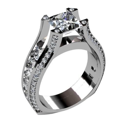 Diamond Engagement Ring with Tapered Round Diamonds