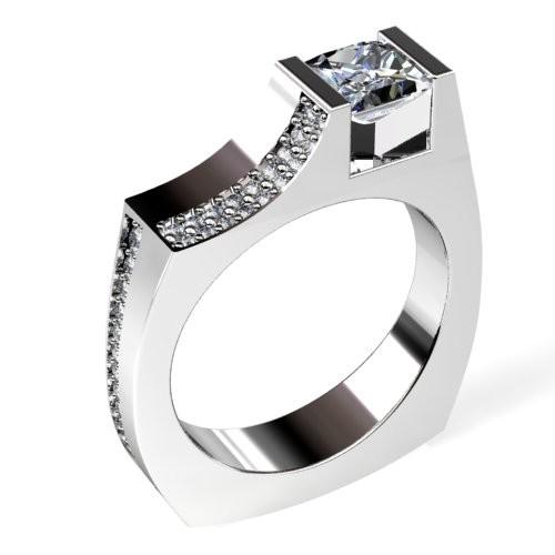 Princess Diamond Engagement Ring with Split Pavéd Sides