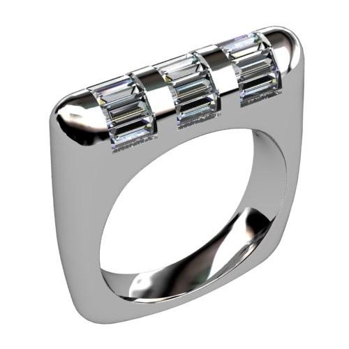 Three Row Baguette Diamond Wedding Ring
