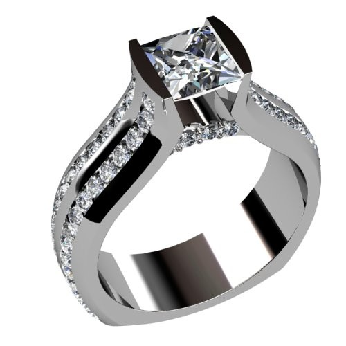 Double Channel Diamond Engagement Ring
