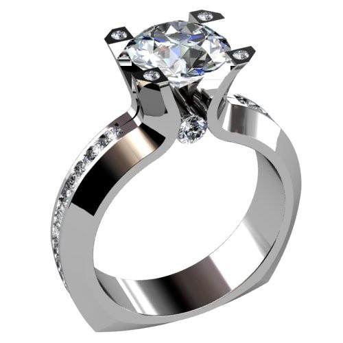 Single Channel Diamond Engagement Ring
