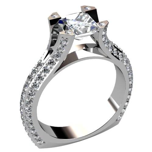 Triple Side Pavéd Diamond Engagement Ring