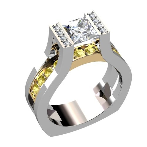 Two Tone Princess Diamond Engagement Ring