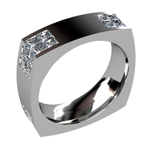 Square Wedding Ring with Diamond Corners