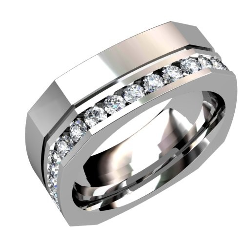 Diamond Wedding Ring with Center Groove