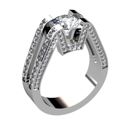 Diamond Engagement Ring with Pavéd Shank