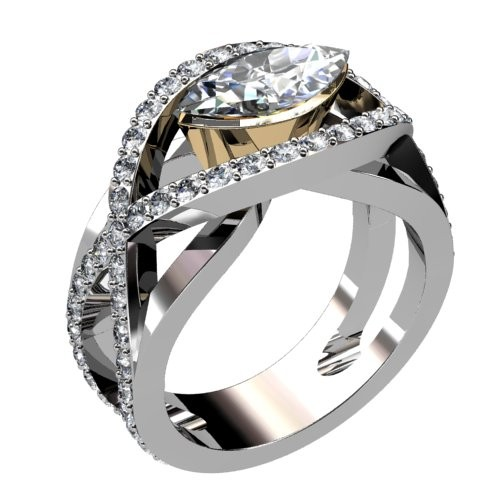 Two Tone Marquise Diamond Engagement Ring