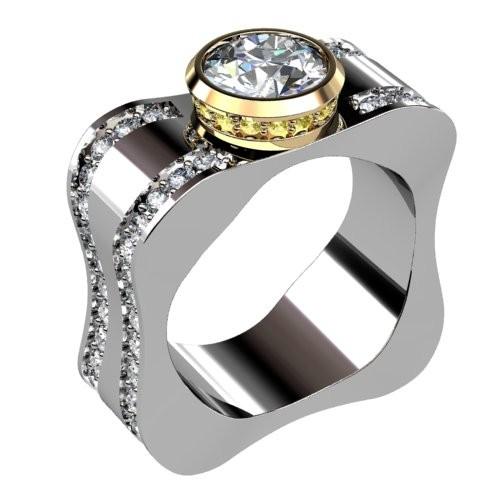 Two Tone Square Diamond Engagement Ring
