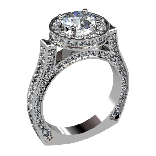Diamond Halo Engagement Ring with Pavé