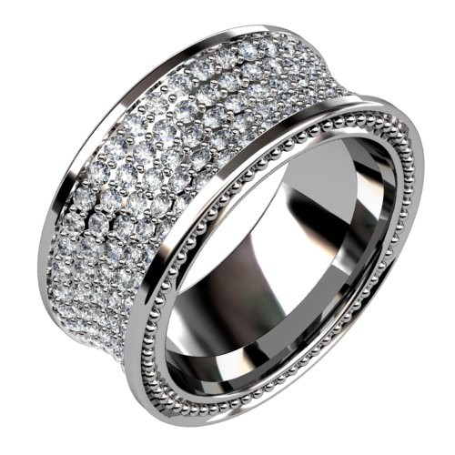 Concave Five Row Diamond Ring