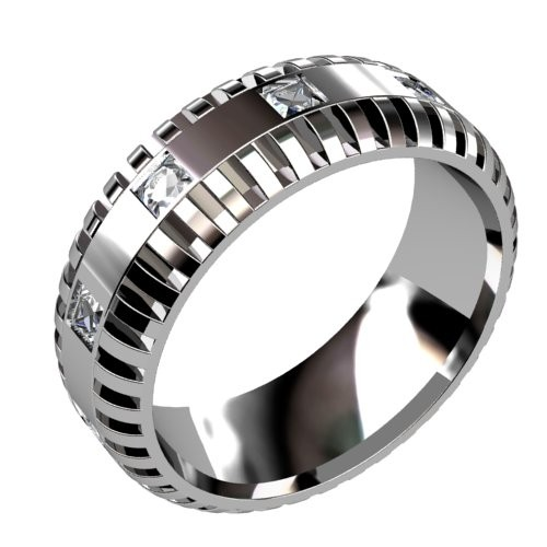 Slotted Diamond Wedding Ring