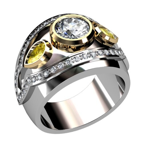 Three Stone Bezel Set Diamond Ring