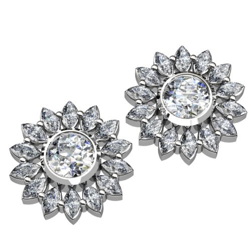 Round and Marquise Diamond Halo Earrings