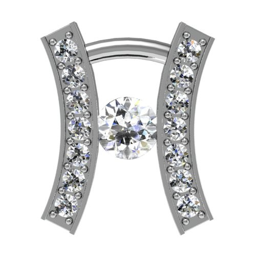 Curved Rail Diamond Pendant