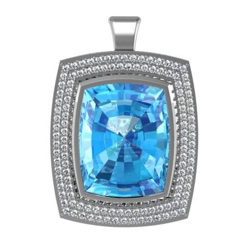 Blue Topaz Halo Pendant